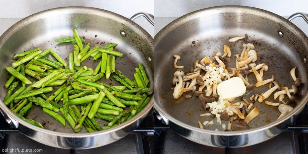 Sauté asparagus and brown mushrooms