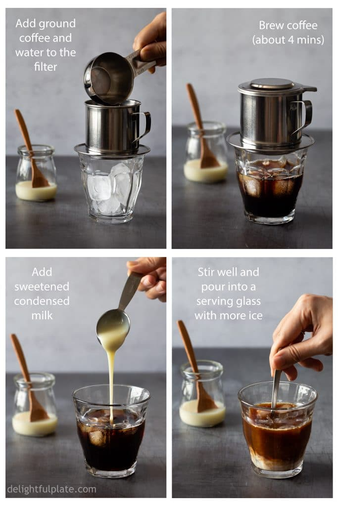 Step-by-step how to brew Vietnamese Iced Coffee (Cafe Sua Da) at home.