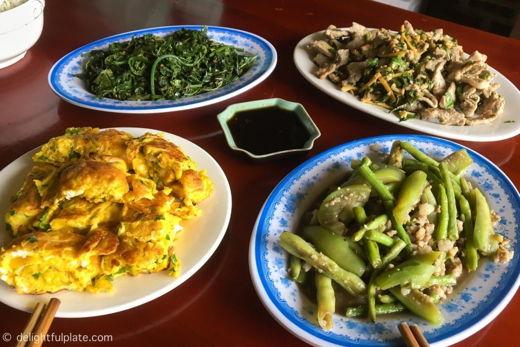 Rustic meal with local ingredients at Xoi farmstay, Yen Bai