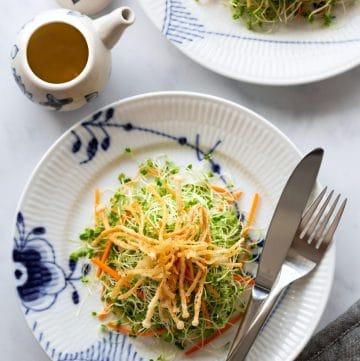 Microgreens Salad with Crispy Enoki Mushrooms