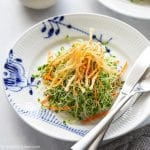 Microgreens Salad with Crispy Enoki Mushrooms and Lemon vinaigrette