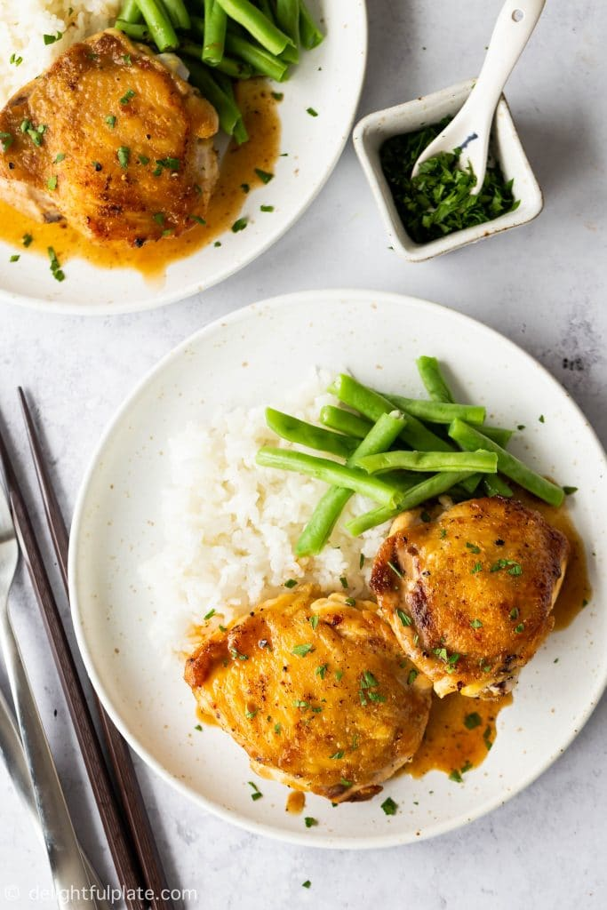 These pan roasted chicken thighs are unbelievably quick and easy to cook. They are also delicious with crispy skin and juicy interior. Serve with salad, or rice and steamed vegetables for a tasty weeknight dinner.