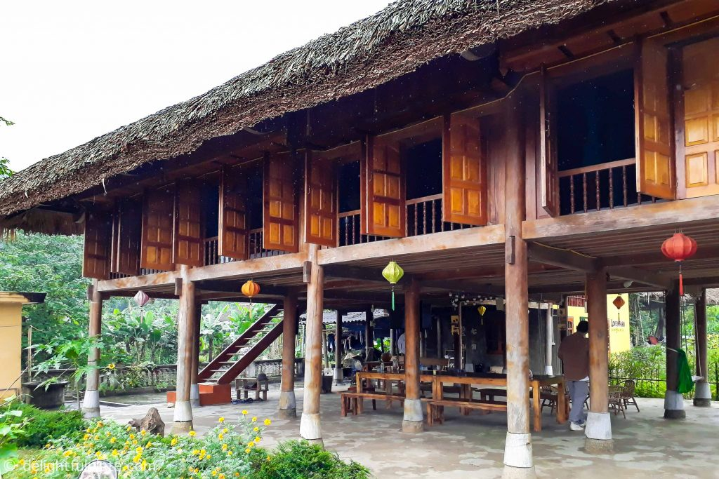 The traditional wooden house on stilts at Xoi Farmstay, Yen Bai