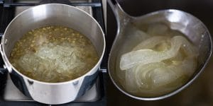 Simmer mung beans until tender and then add aloe vera gel