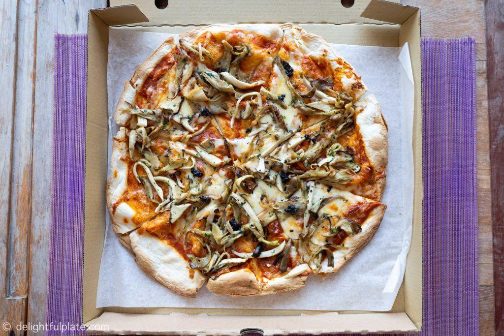 Mushroom pizza at Six Senses Con Dao