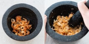 Lightly pound reconstituted dried shrimps into smaller pieces