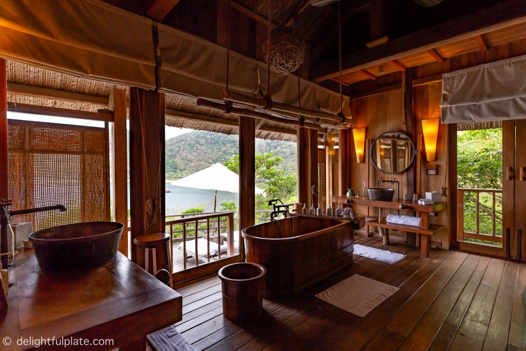 bathroom at Six Senses Ninh Van Bay with ocean view