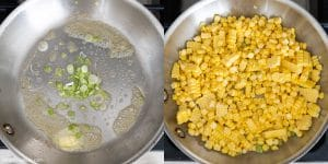 Saute corn kernels in butter