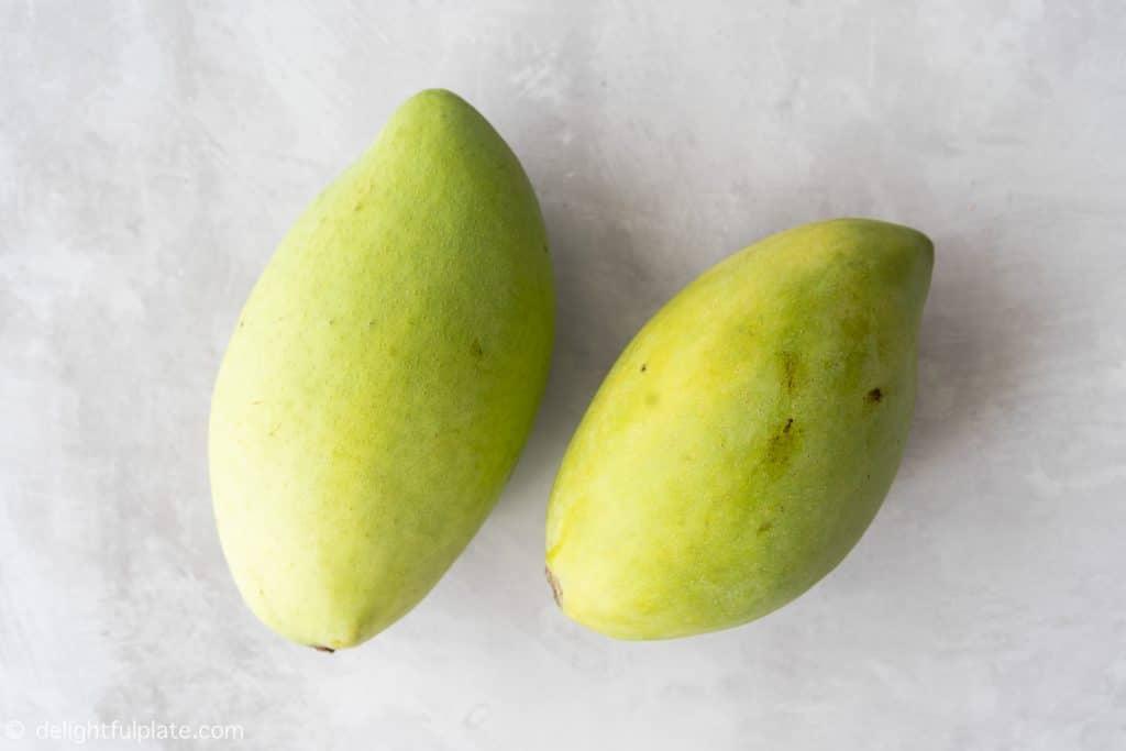 Unripe green mango