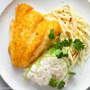 Vietnamese Fried Fish with Green Mango Salad (Ca Chien Mam Xoai)