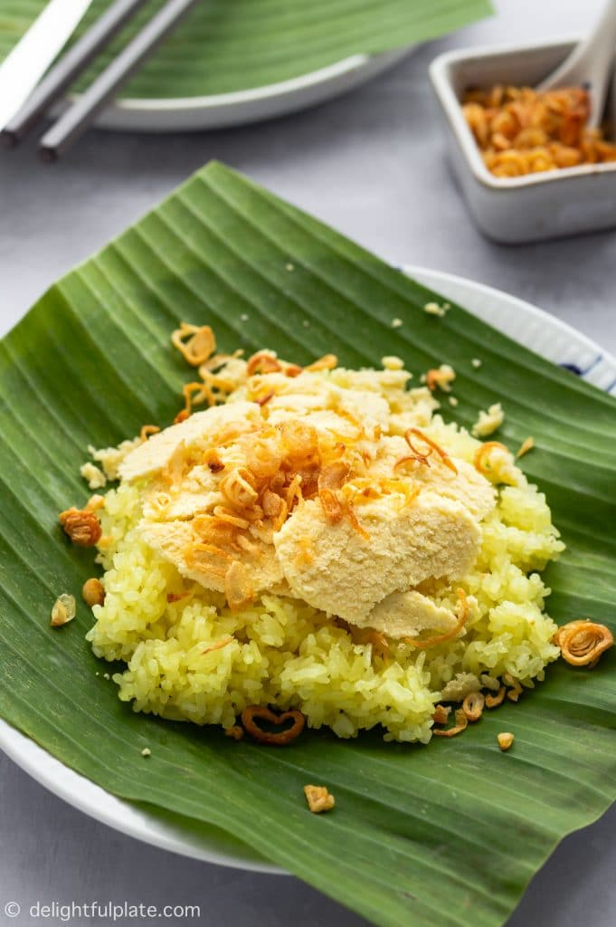 A plate of Vietnamese sticky rice with slices of mung bean and fried shallots. This is Xoi Xeo, a popular dish in Hanoi.