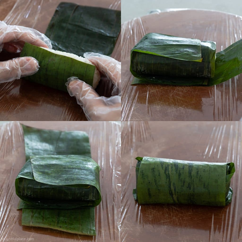 Wrap the banana sticky rice roll in a couple of layers of banana leaves