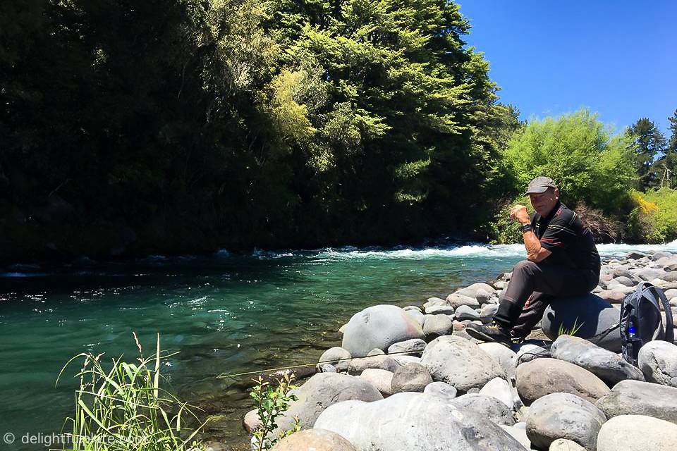 Relaxing by Tongariro River, New Zealand