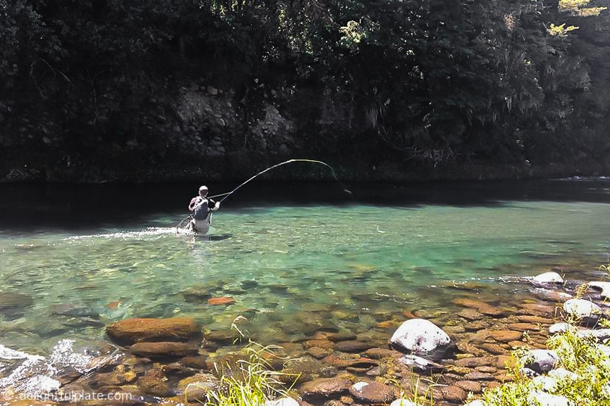 Fly fishing at Tongariro River, New Zealand