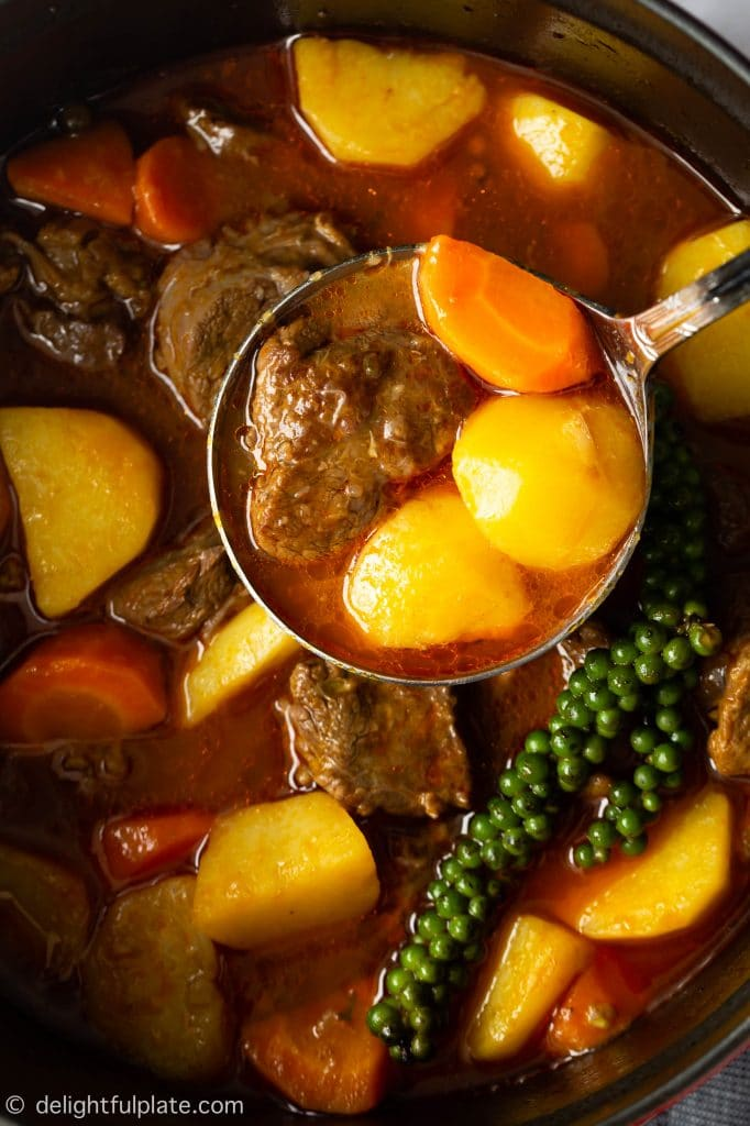 Vietnamese beef stew with potatoes, carrots and green peppercorns