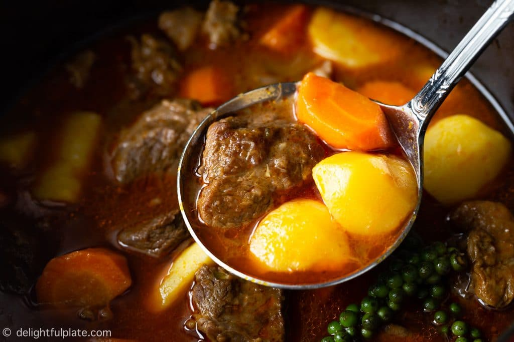 Vietnamese Beef Stew with Green Peppercorns with tender beef cubes, potatoes and carrots in a flavorful sauce