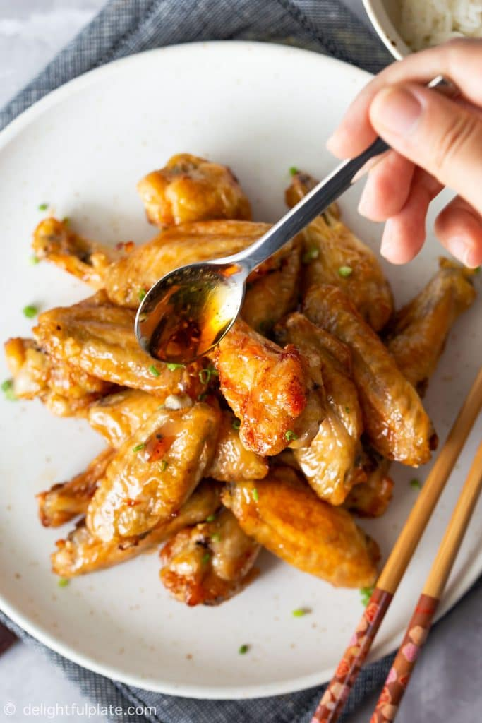 Vietnamese Fish Sauce Chicken Wings that have been cooked in the air fryer