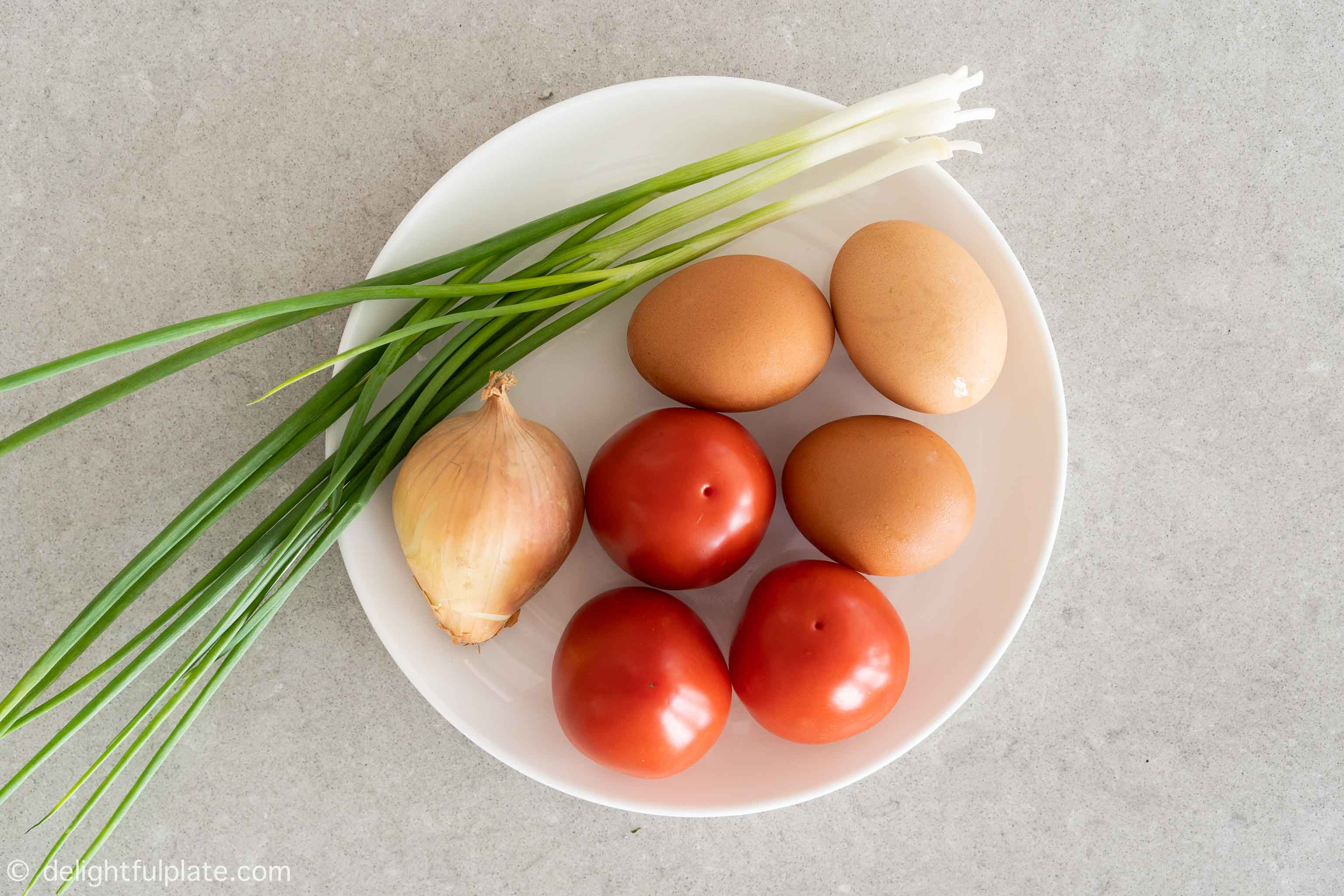 a plate with eggs, tomatoes, onions and scallions