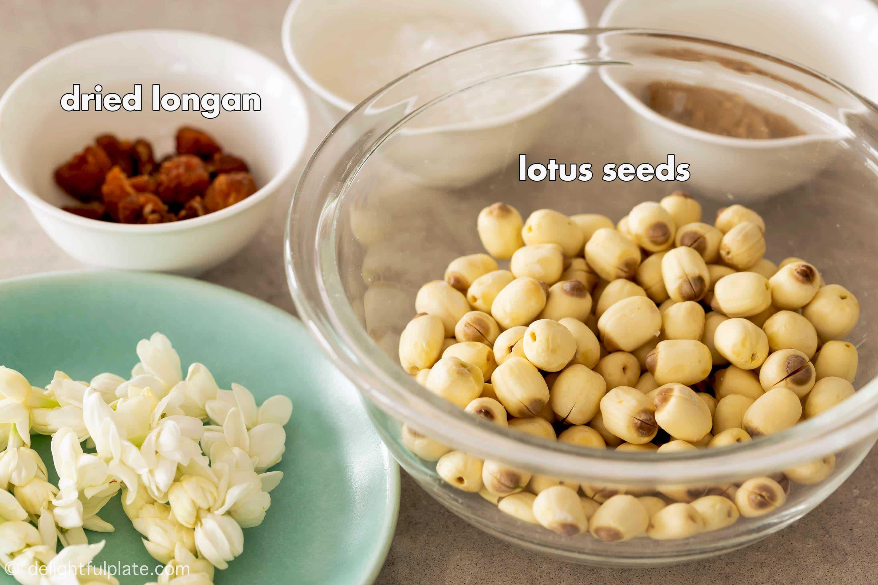 prepping bowls containing lotus seeds, dried longan, rock sugar and light brown sugar