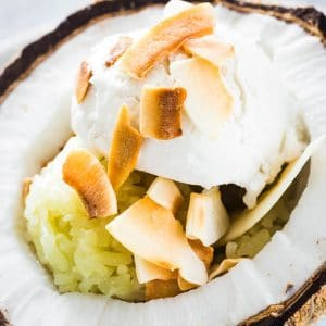 a scoop of Ince cream on top of sticky rice, served with toasted coconut flakes