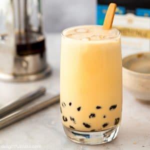 A glass of brown sugar bubble milk tea