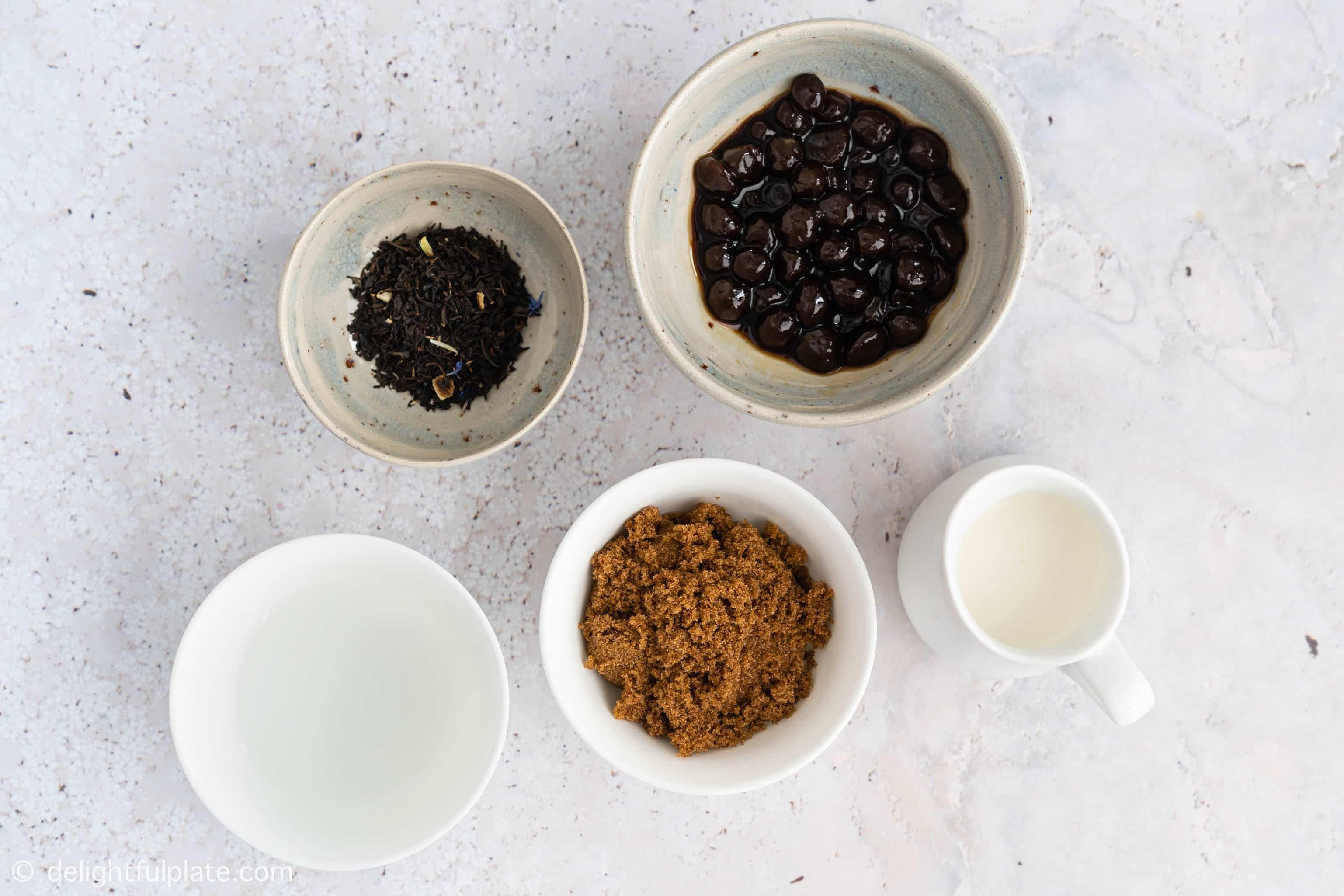 Ingredients for bubble milk tea