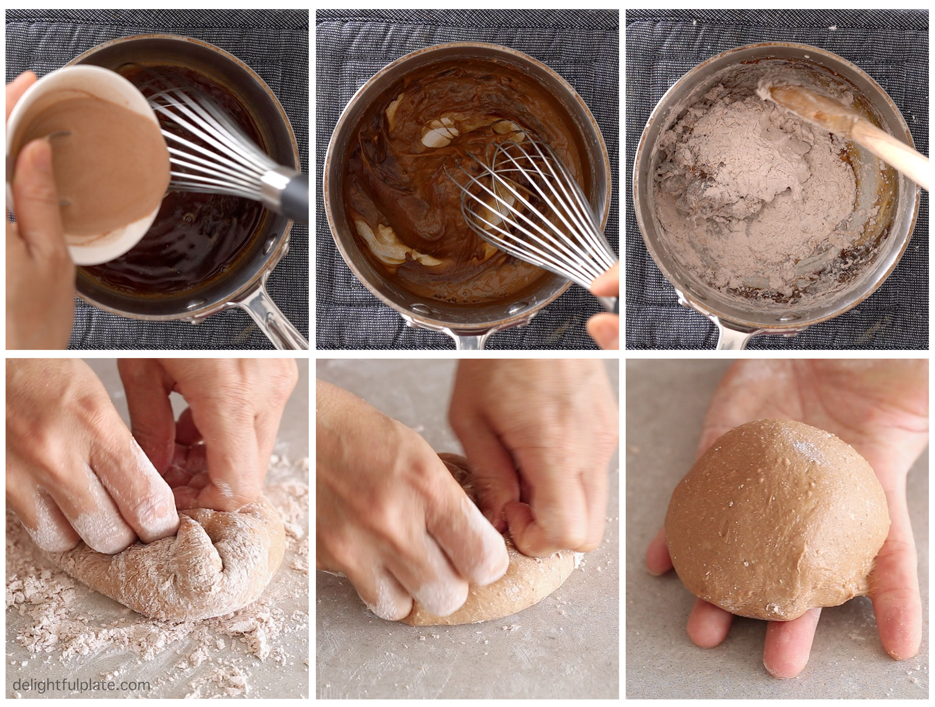 Steps to make the dough: make a tapioca starch slurry, add it to hot water, then add flour and knead into dough