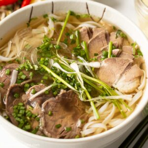 a bowl of beef pho