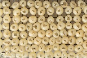 longan fruit flesh on a wired rack