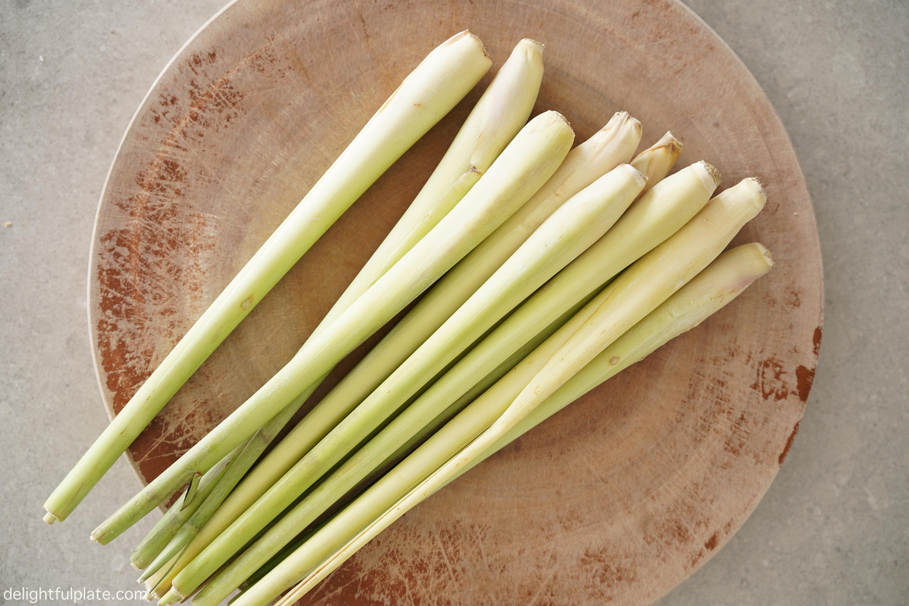 lemongrass stalks on a cutting board