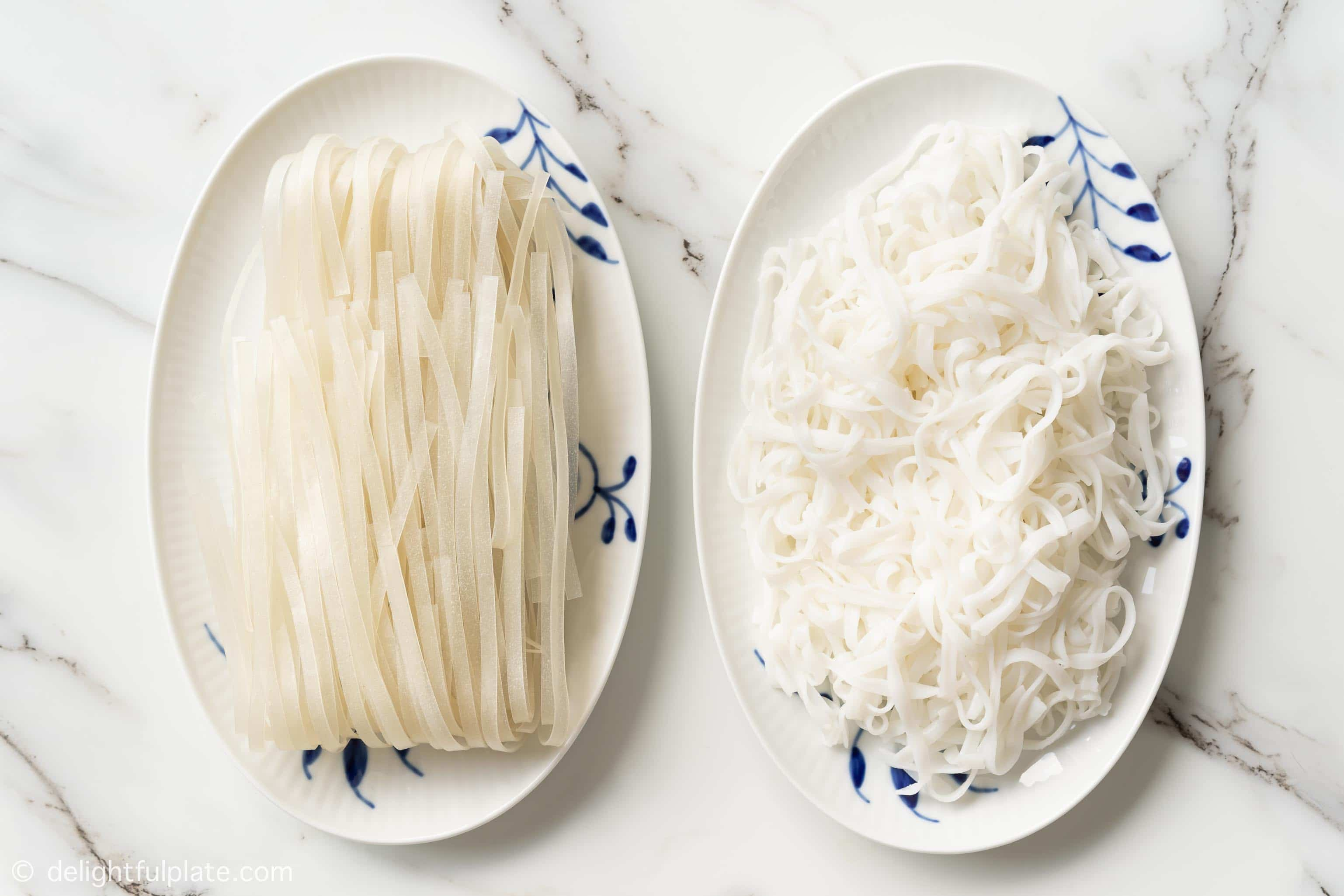 two plates with dried rice noodles and fresh rice noodles