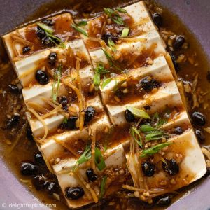 Steamed Tofu with Black Bean Sauce