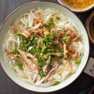 a bowl of bun mang vit (Vietnamese Duck Vermicelli Noodle Soup)