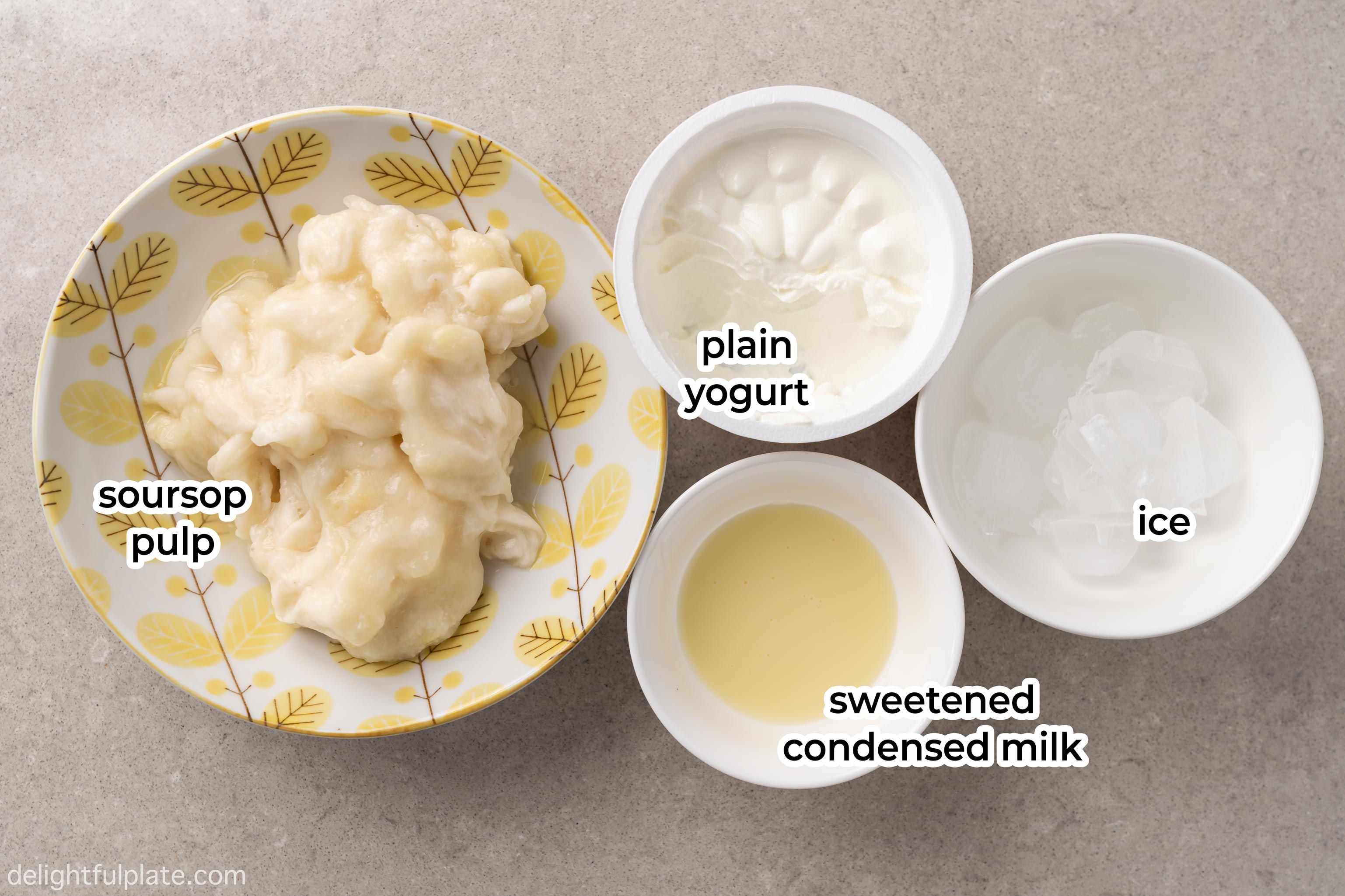 bowls containing ingredients to make soursop smoothie: soursop pulp, yogurt, sweetened condensed milk and ice