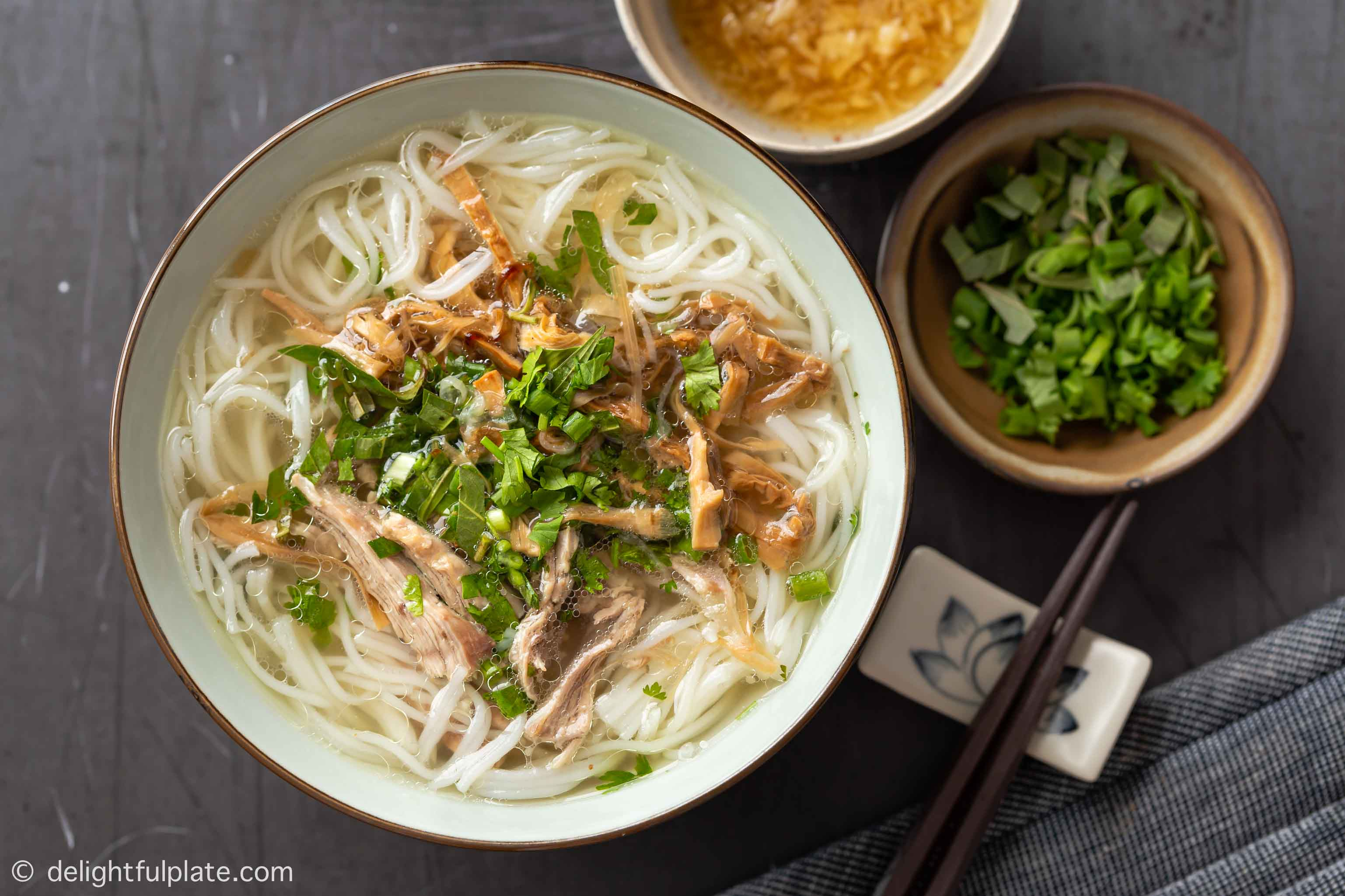 a bowl of Vietnamese duck and bamboo shoot noodle soup