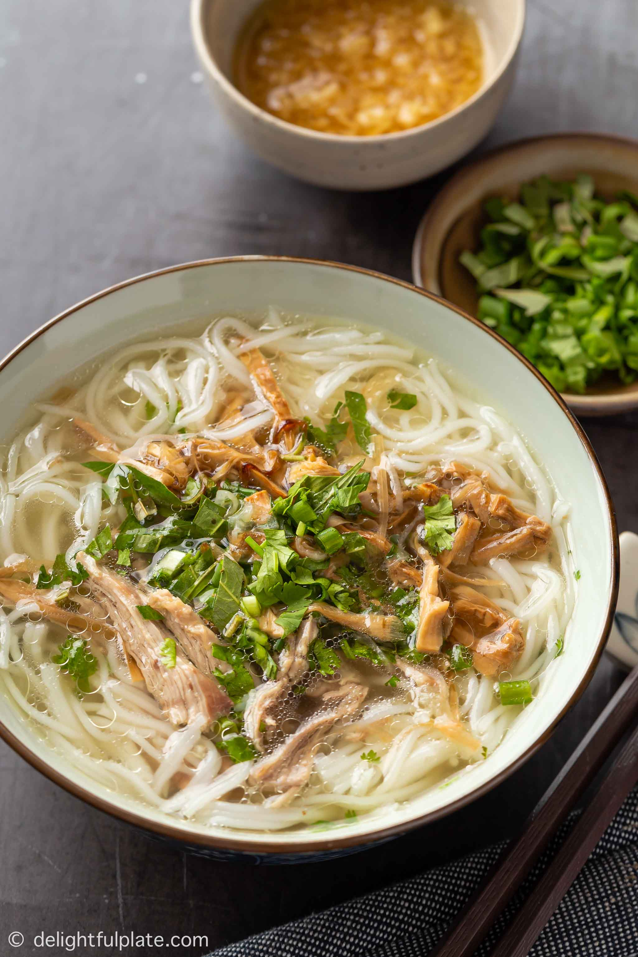 a bowl of Vietnamese duck and bamboo shoot noodle soup with ginger dipping sauce on the side