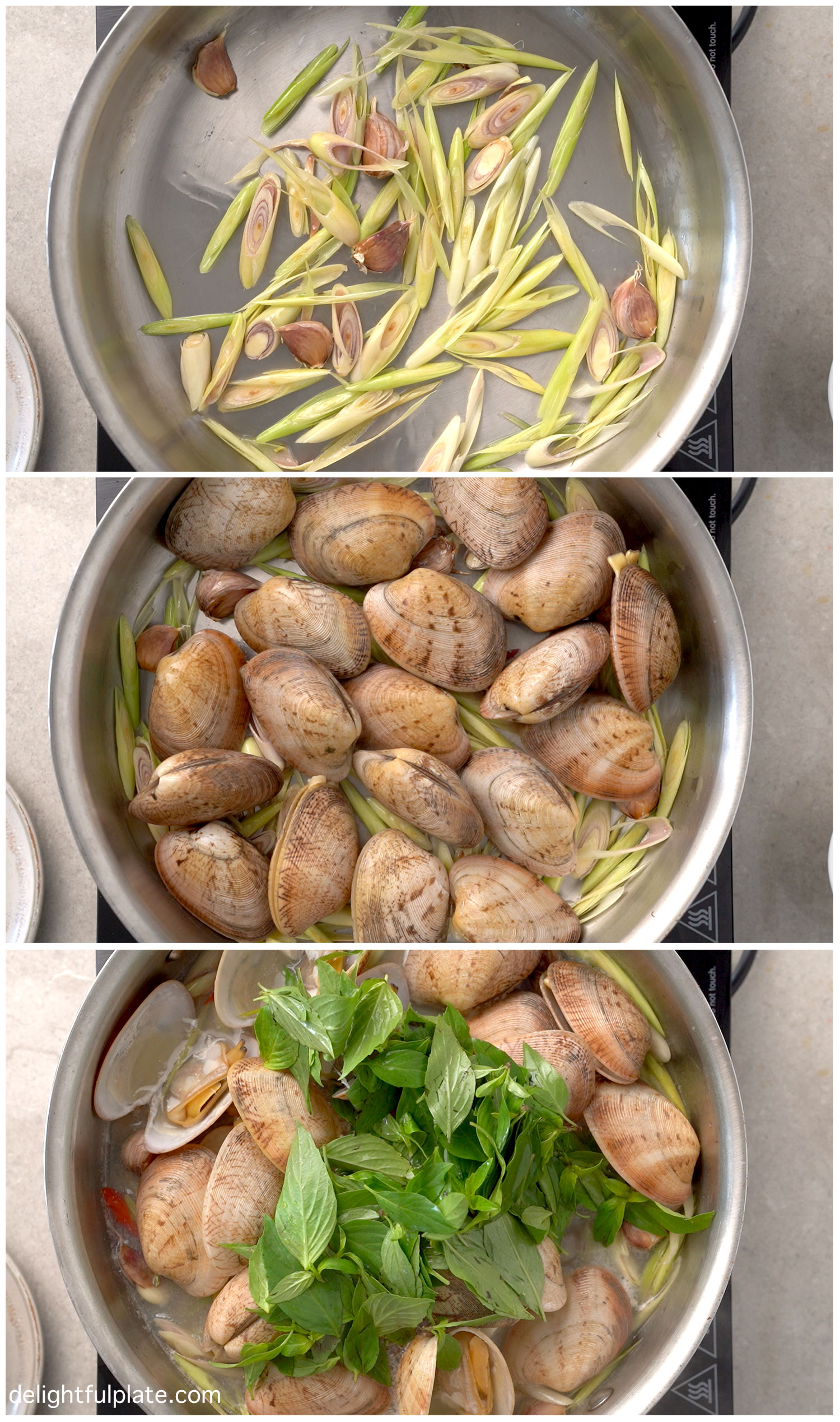 collage of steps to cook steamed clams with Thai Basil and lemongrass