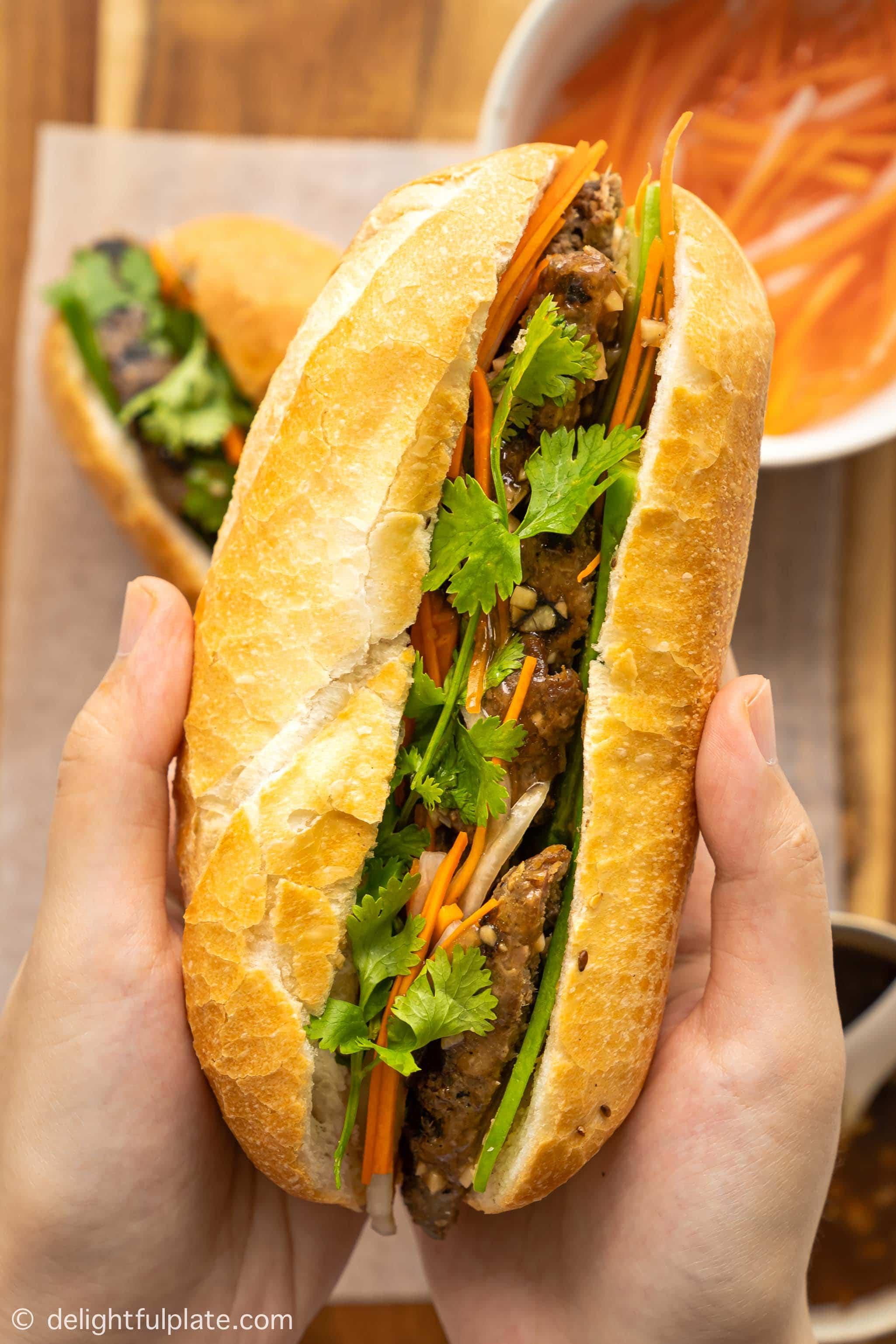 close up of Vietnamese lemongrass beef banh mi