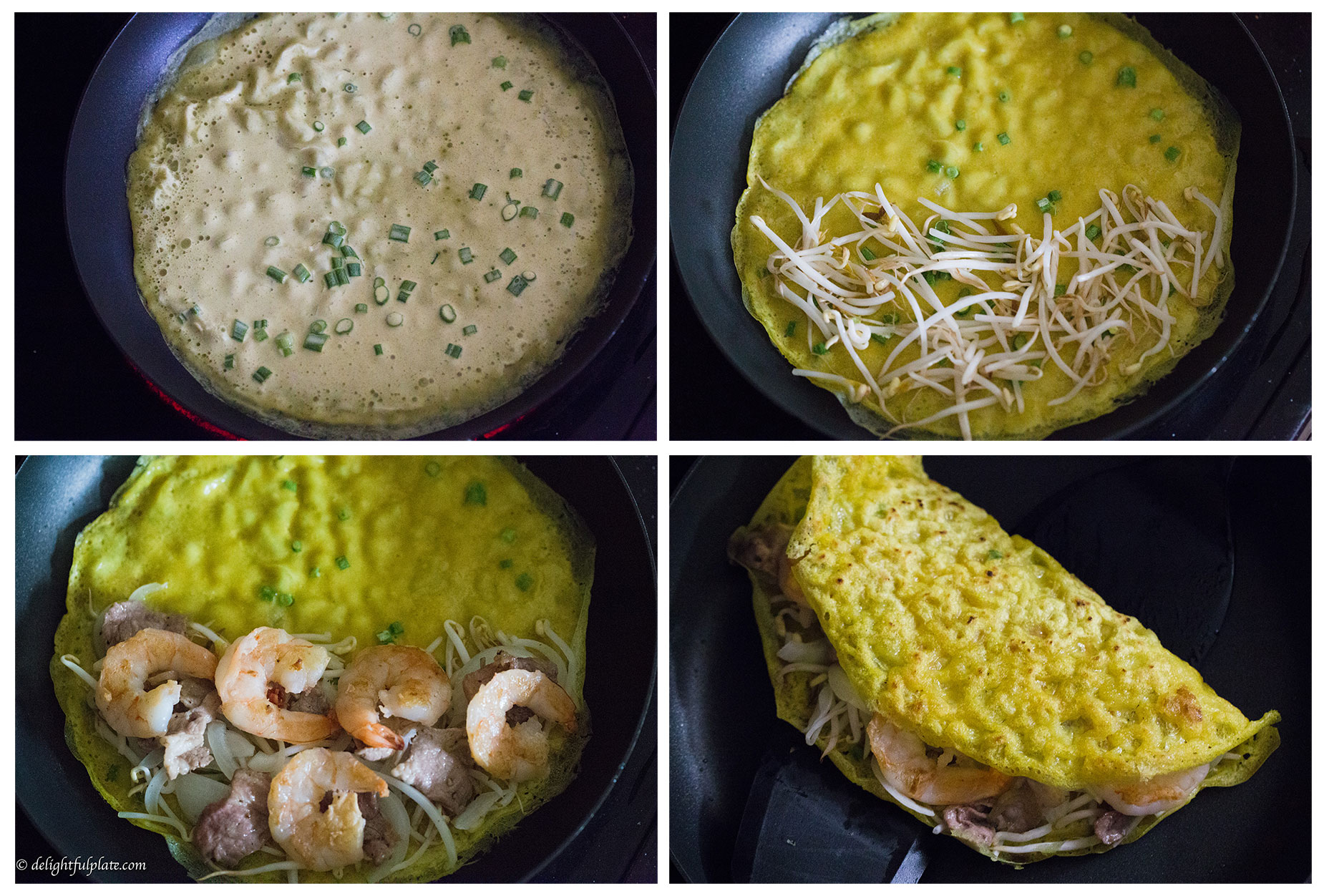 collage of steps to cook banh xeo in a pan
