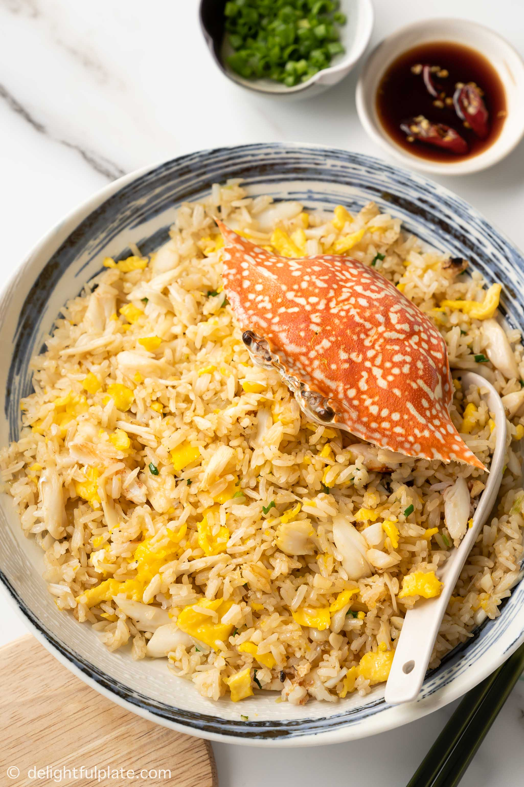 a plate of crab fried rice