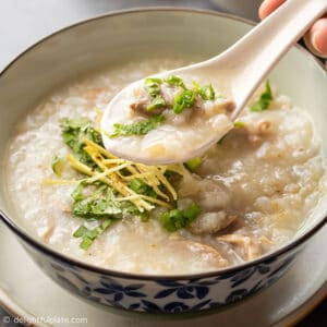 a bowl of duck congee