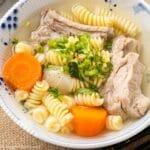 a bowl of Vietnamese macaroni soup