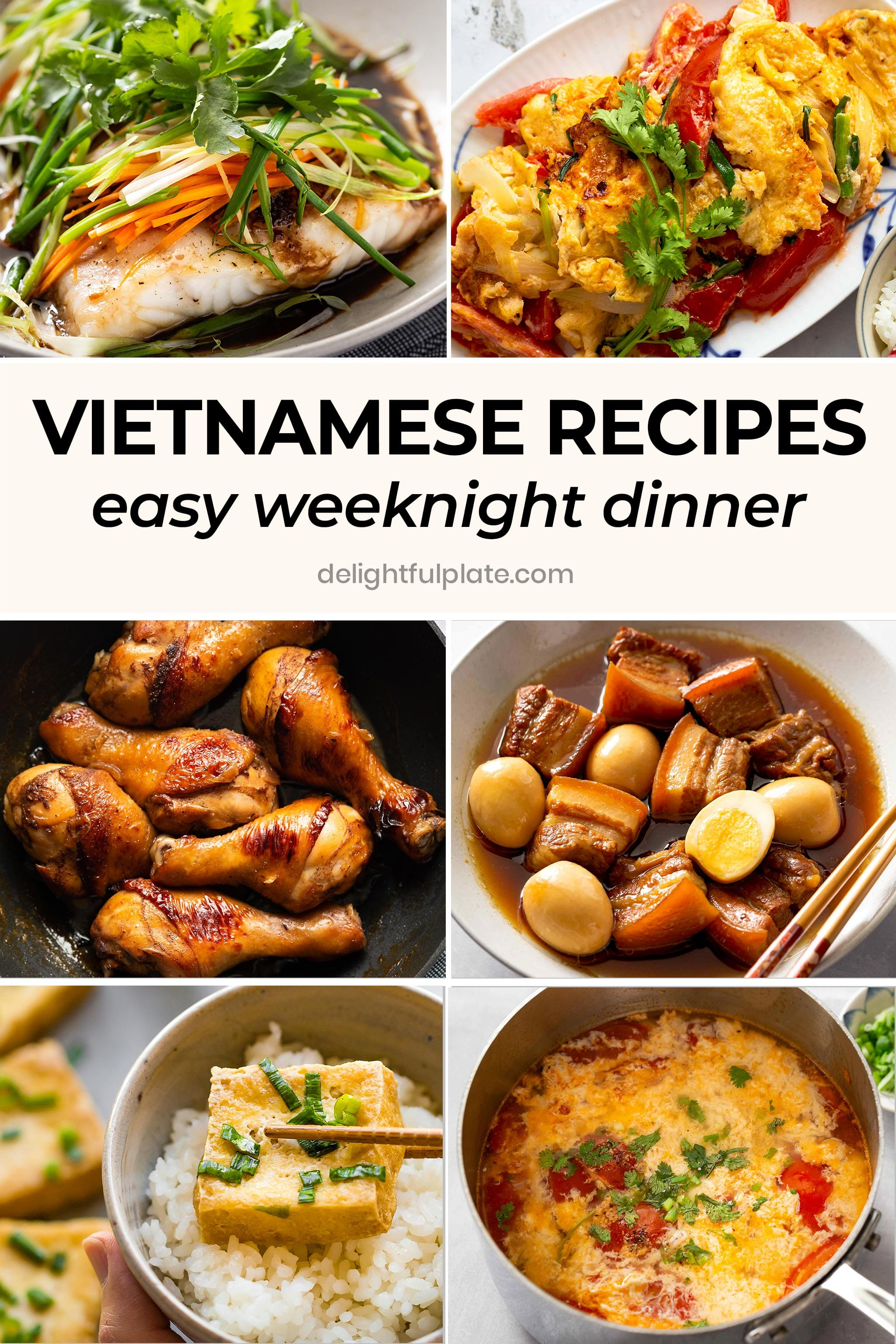 a collage of Vietnamese dishes for easy weeknight dinner