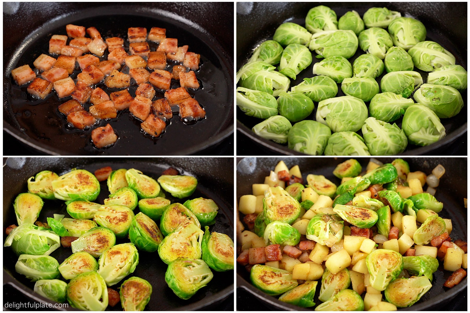 a collage of step-by-step photos on how to sauté Brussels sprouts with bacon and apple