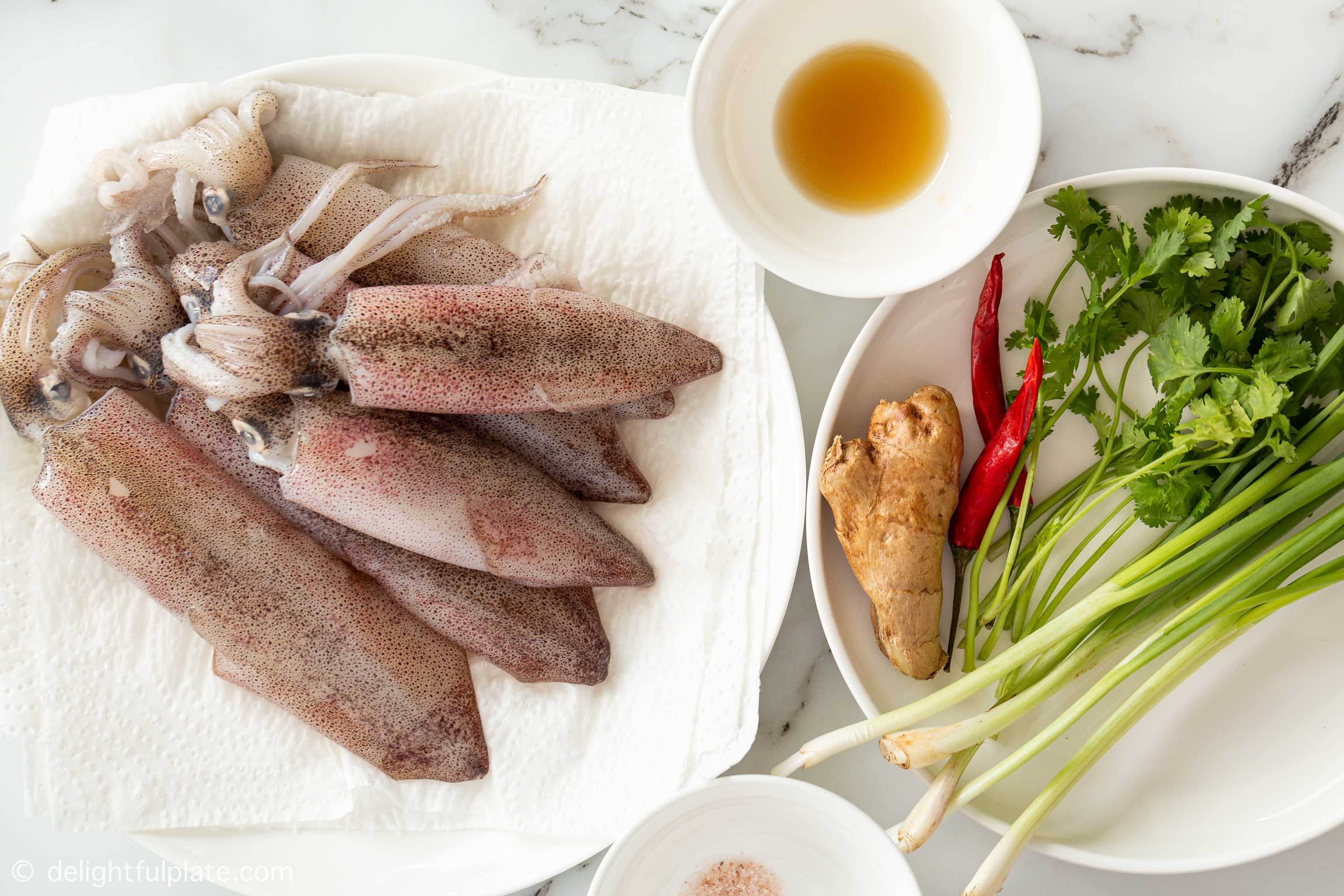 plates containing ingredients for this steamed fish recipe