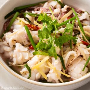 a bowl of freshly steamed squid