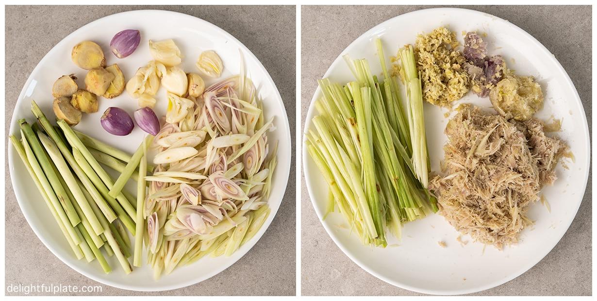 a plate with aromatics for Vietnamese lemongrass chicken