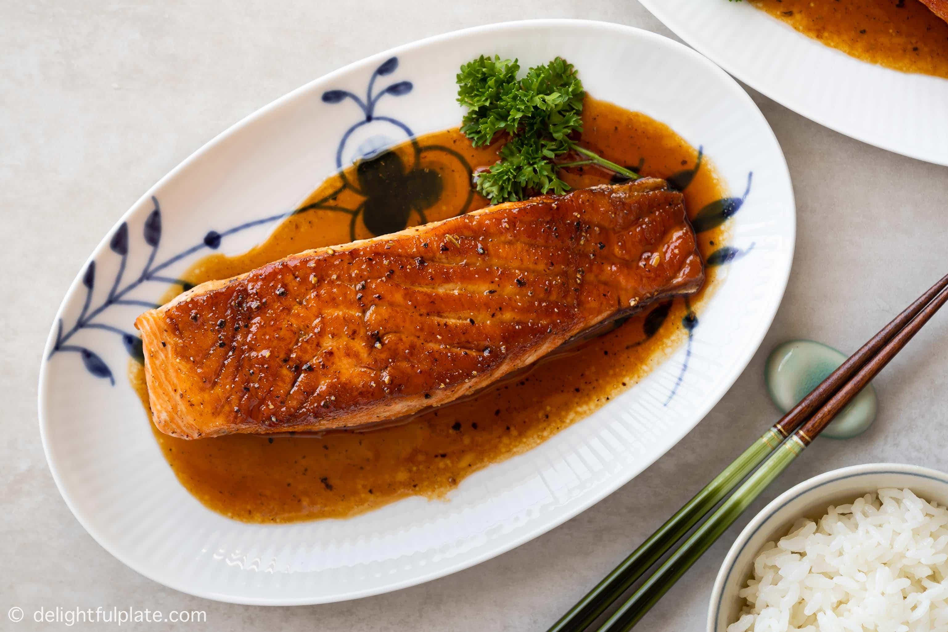 glazed salmon fillet on a serving plate