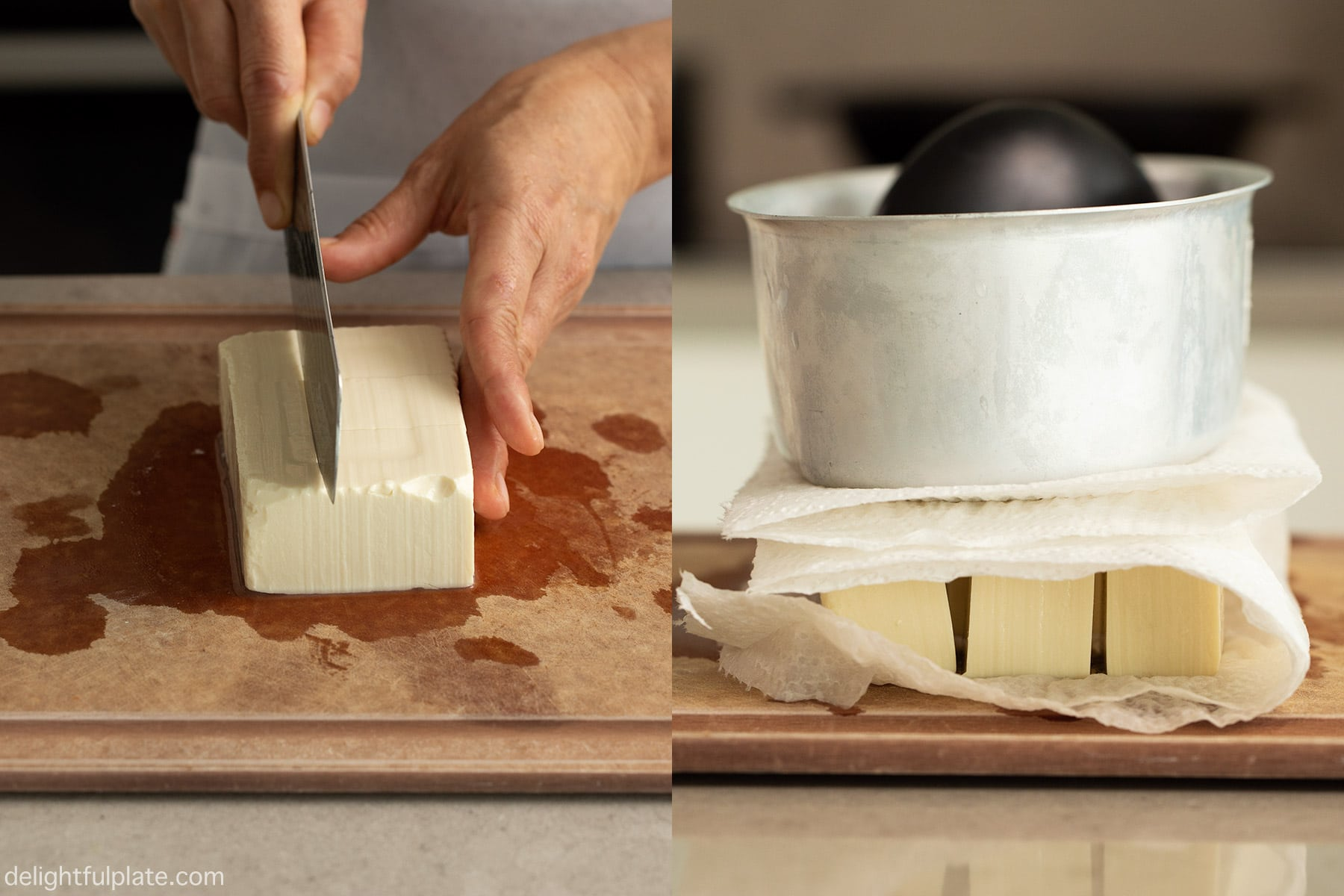 step 1: slice tofu and drain out excess water