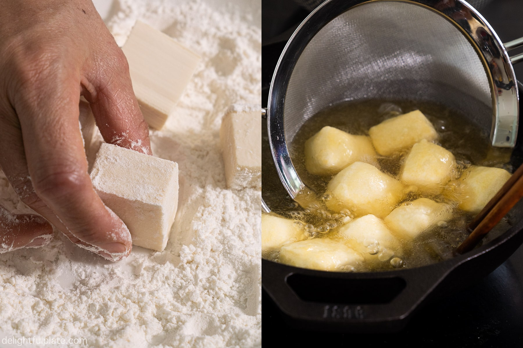 Step 3: coat the tofu with flour and deep fry